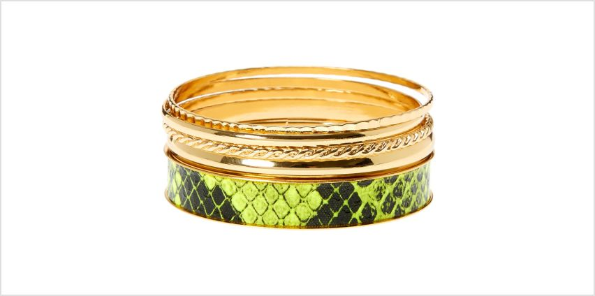 Go to Product: Gold & Neon Snakeskin Bangle Bracelets - 5 Pack from Claires