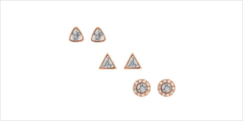 Go to Product: 18kt Rose Gold Plated Marble Stud Earrings - 3 Pack from Claires