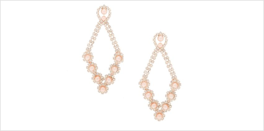 "Go to Product: Rose Gold Pearl 2.5"" Chandelier Drop Earrings from Claires"