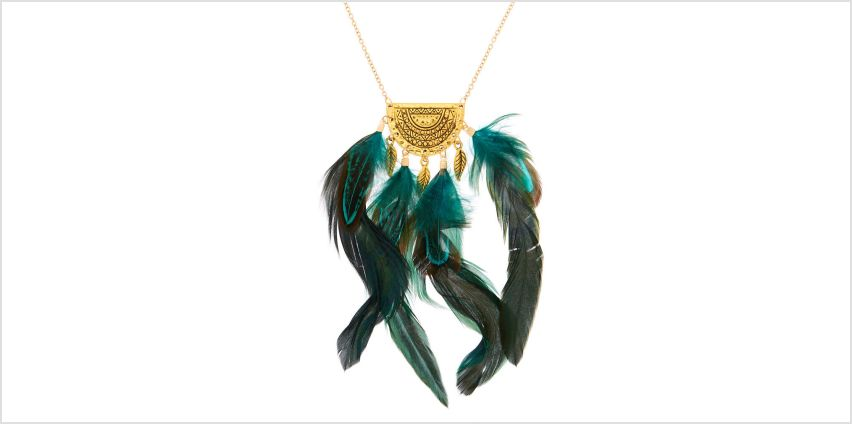 Go to Product: Gold Feather Long Pendant Necklace - Green from Claires