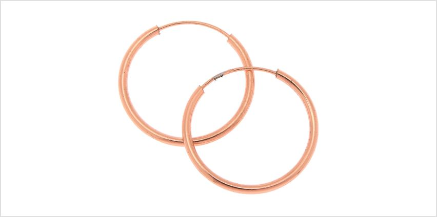 Go to Product: 18kt Rose Gold 15MM Infinity Hoop Earrings from Claires