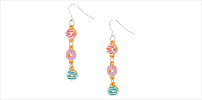 """Go to Product: Silver 2"""" Glitter Donut Drop Earrings from Claires"""