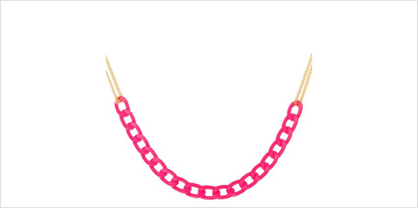 Go to Product: Gold Double Chain Statement Necklace - Neon Pink from Claires