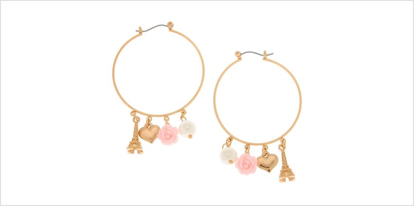 Go to Product: Gold 40MM Romantic Charm Hoop Earrings from Claires