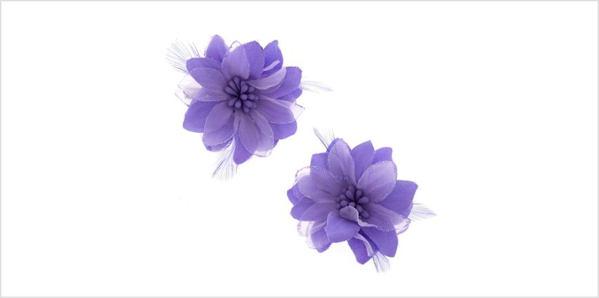 Go to Product: Lavender Feather Flower Hair Clips from Claires