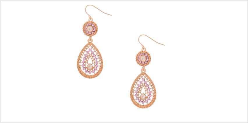 """Go to Product: Rose Gold 2"""" Teardrop Drop Earrings from Claires"""