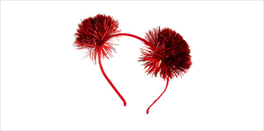 Go to Product: Tinsel Pom Pom Ears Headband - Red from Claires