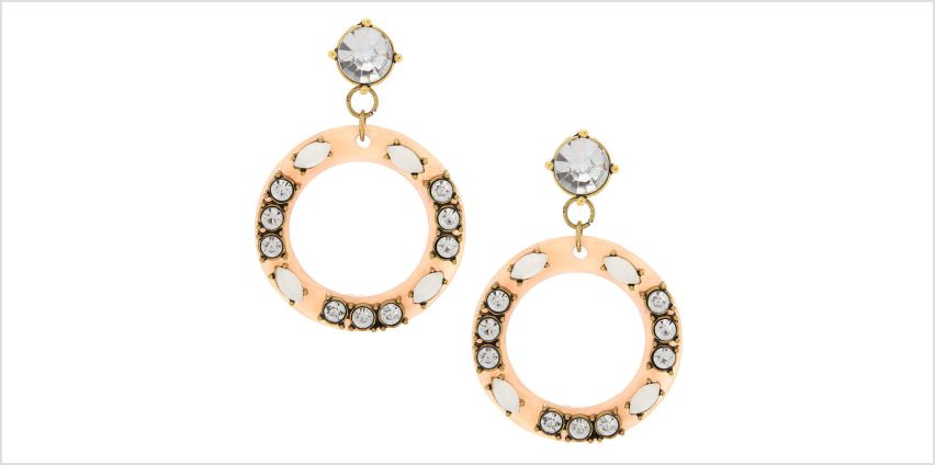 "Go to Product: 2"" Blush Circle Drop Earrings from Claires"