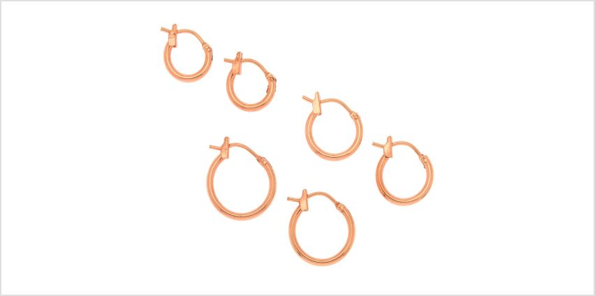 Go to Product: 18kt Rose Gold Plated Graduated Hinge Hoop Earrings - 3 Pack from Claires