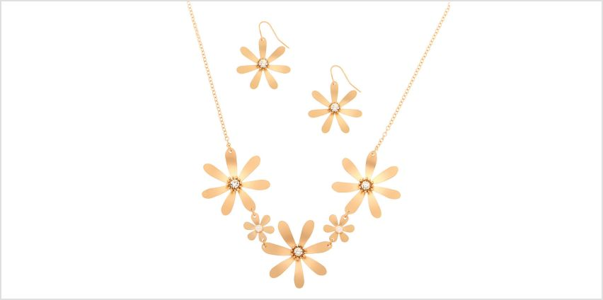 Go to Product: Brushed Gold Floral Jewellery Set - 2 Pack from Claires