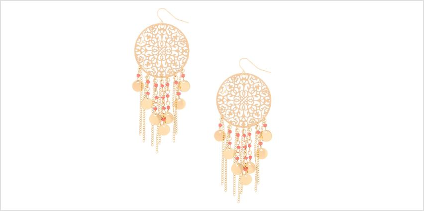 "Go to Product: Gold 3"" Filigree Bead Drop Earrings - Coral from Claires"