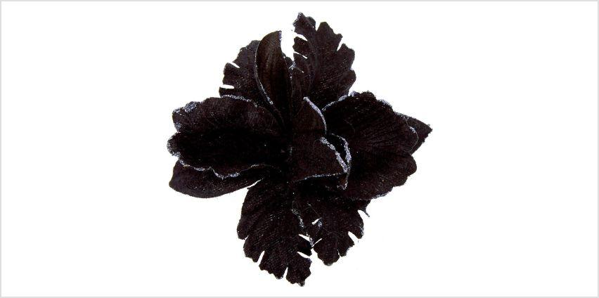 Go to Product: Velvet Glitter Flower Hair Clip - Black from Claires