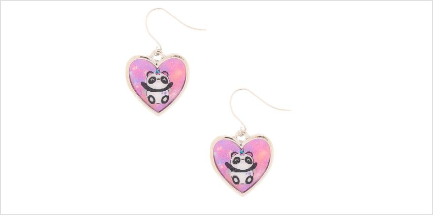 """Go to Product: 1"""" Charlie the Panda Holographic Drop Earrings - Pink from Claires"""
