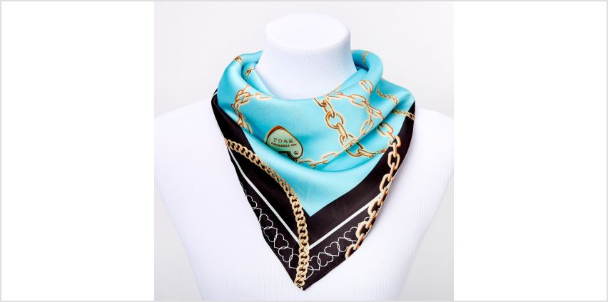 Go to Product: Square Chain Link Hearts Satin Fashion Scarf - Teal from Claires