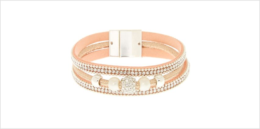 Go to Product: Embellished Fireball Wrap Bracelet - Pink from Claires