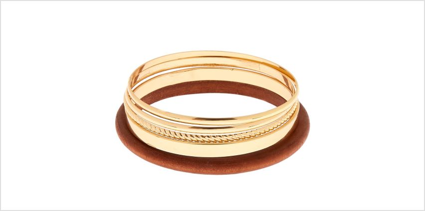 Go to Product: Gold Wooden Bangle Bracelets - 5 Pack from Claires