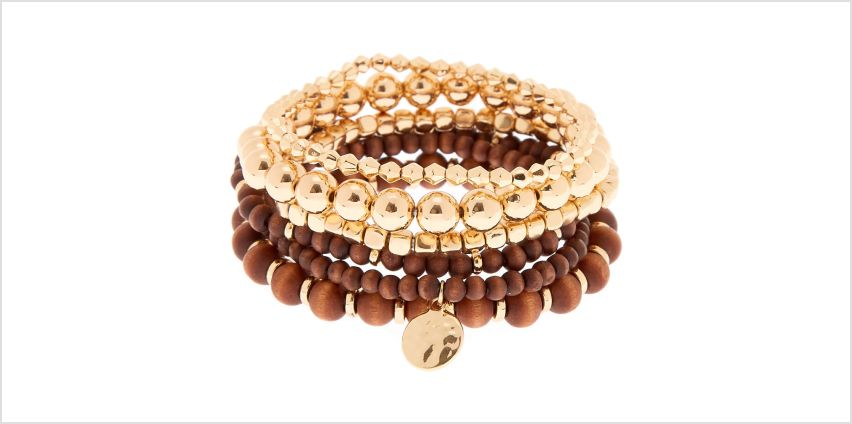 Go to Product: Gold Wooden Stretch Bracelets - 6 Pack from Claires