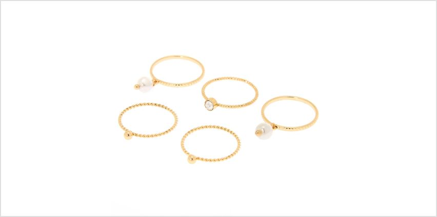 Go to Product: Gold Embellishment Rings - 5 Pack from Claires