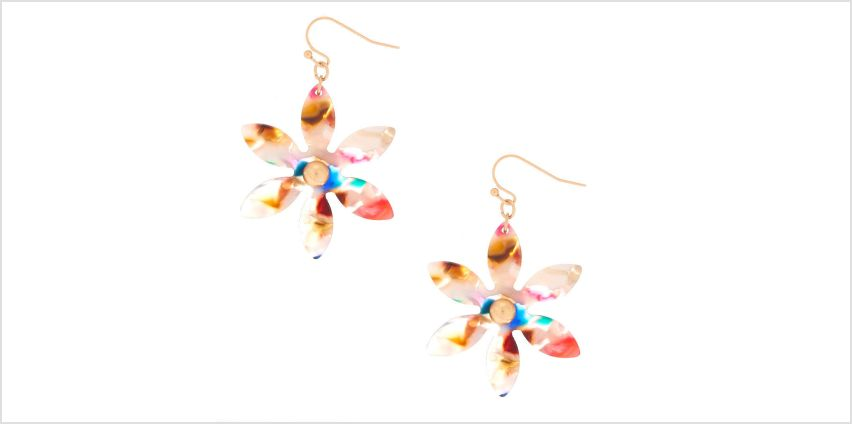"""Go to Product: 2"""" Resin Painted Flower Drop Earrings from Claires"""