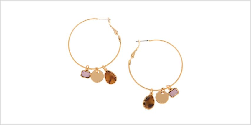 Go to Product: Gold 40MM Tortoiseshell Stone Charm Hoop Earrings from Claires