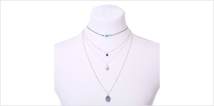 Go to Product: Natural Stone Multi Strand Necklace - Blue from Claires