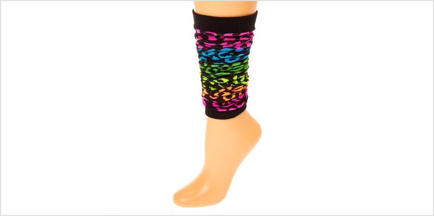 Go to Product: Rainbow Leopard Print Leg Warmers - Black from Claires