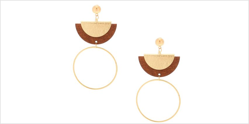 """Go to Product: Gold 3"""" Wooden Half Moon Drop Earrings from Claires"""