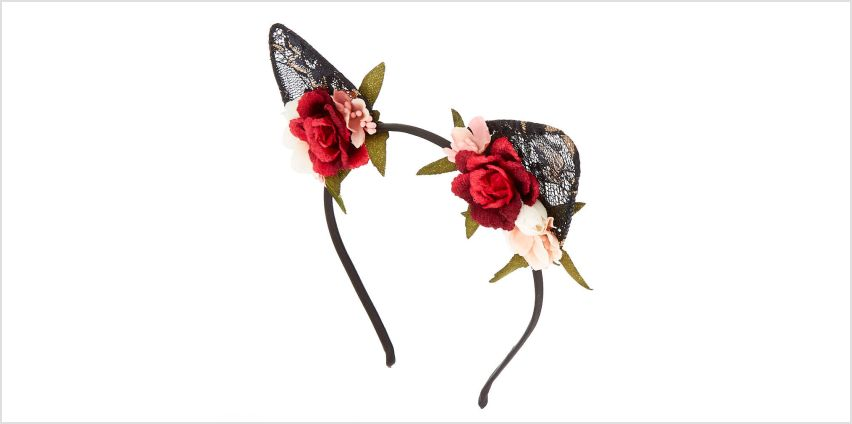 Go to Product: Floral Lace Cat Ears Headband - Black from Claires