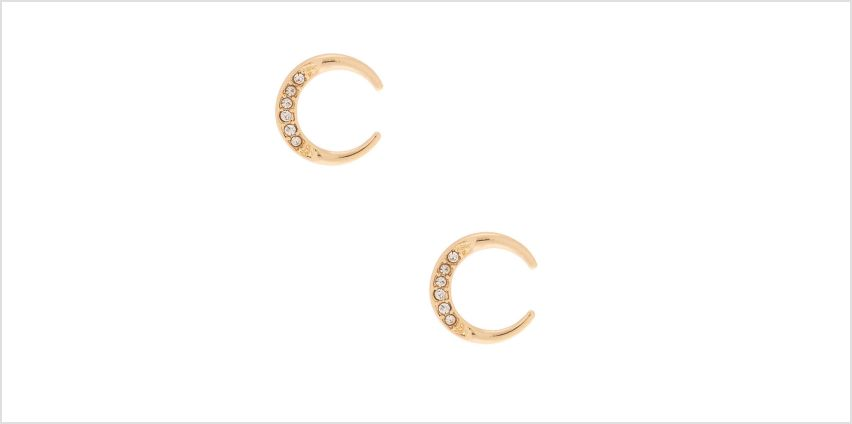 Go to Product: Gold Half Moon Crystal Stud Earrings from Claires