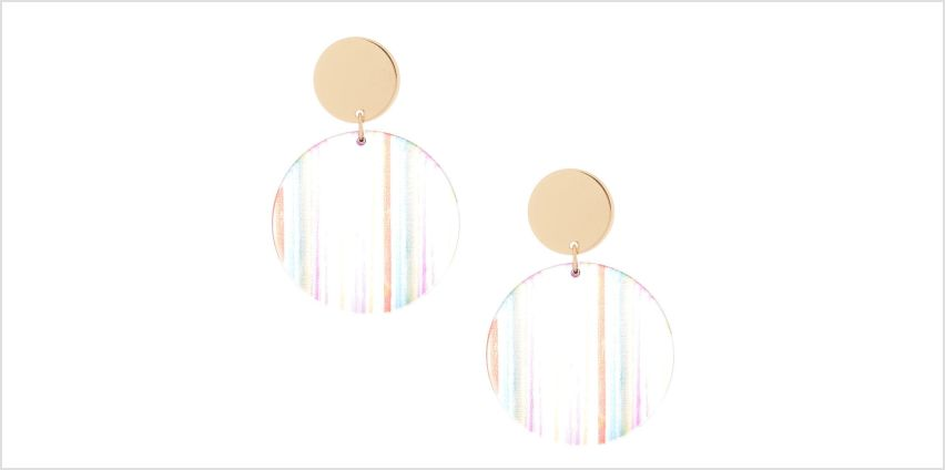 """Go to Product: Gold 2"""" Round Striped Drop Earrings from Claires"""