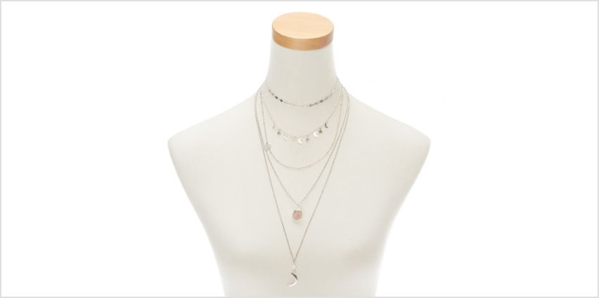 Go to Product: Silver Cellestial Multi Strand Choker Necklace from Claires