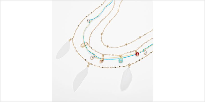 Go to Product: Gold Feather Seashell Mixed Multi Strand Necklace from Claires