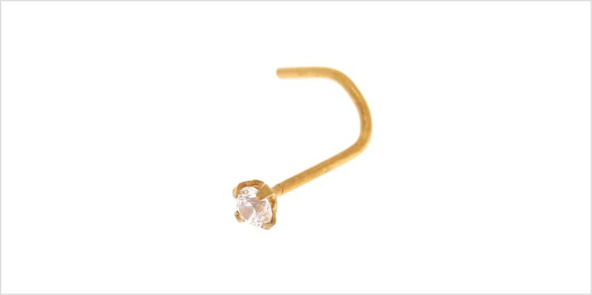 18ct Gold Plated Cubic Zirconia 22G Nose Stud from Claires