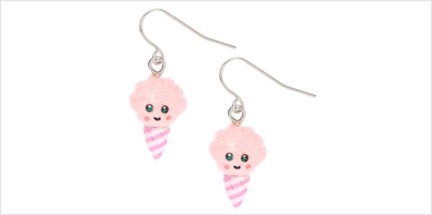 "Go to Product: Silver 1"" Happy Cotton Candy Drop Earrings - Pink from Claires"