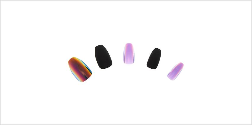 Go to Product: Matte Chrome Coffin Faux Nail Set - Black, 24 Pack from Claires