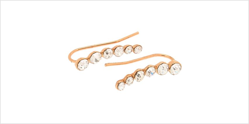"Go to Product: Rose Gold 1"" Graduated Crystal Ear Crawler Earrings from Claires"