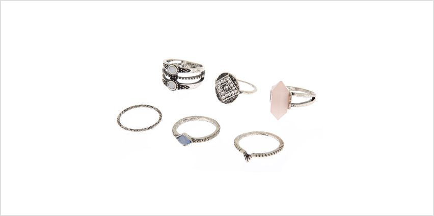 Go to Product: Silver Tribal Stone Rings - 6 Pack from Claires