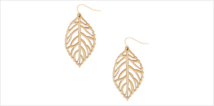 """Go to Product: Gold 2"""" Wooden Leaf Drop Earrings - Cream from Claires"""
