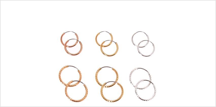 Go to Product: Mixed Metal 12MM Smooth & Textured Hoop Earrings - 6 Pack from Claires