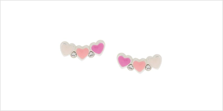 Sterling Silver Heart Cluster Stud Earrings from Claires