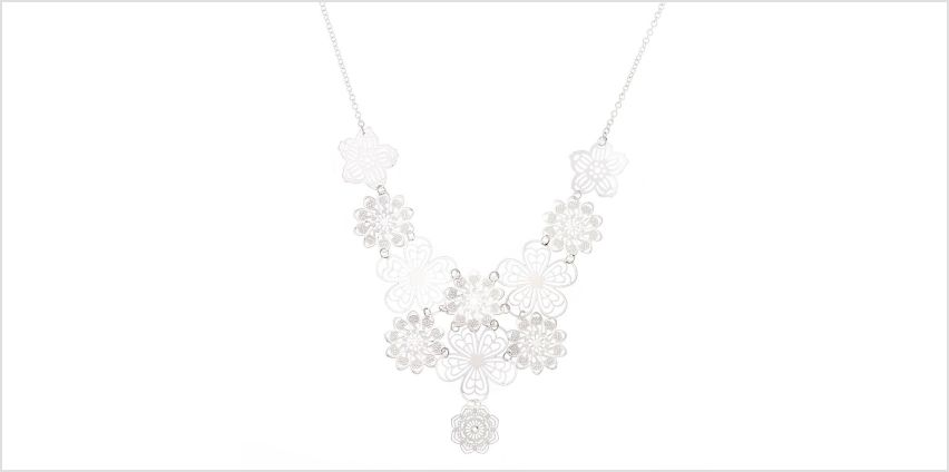 Go to Product: Silver Filigree Flower Statement Necklace from Claires