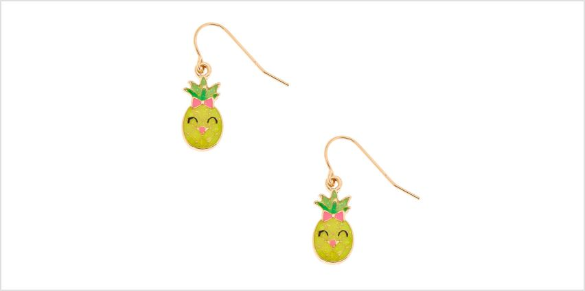 "Go to Product: Gold 0.5"" Happy Pineapple Drop Earrings from Claires"