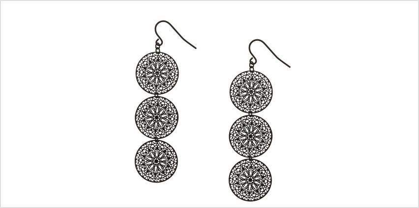 Go to Product: Black Filigree Circle Drop Earrings from Claires