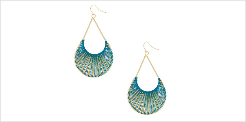 "Go to Product: Gold 3"" Threaded Scoop Drop Earrings - Turquoise from Claires"