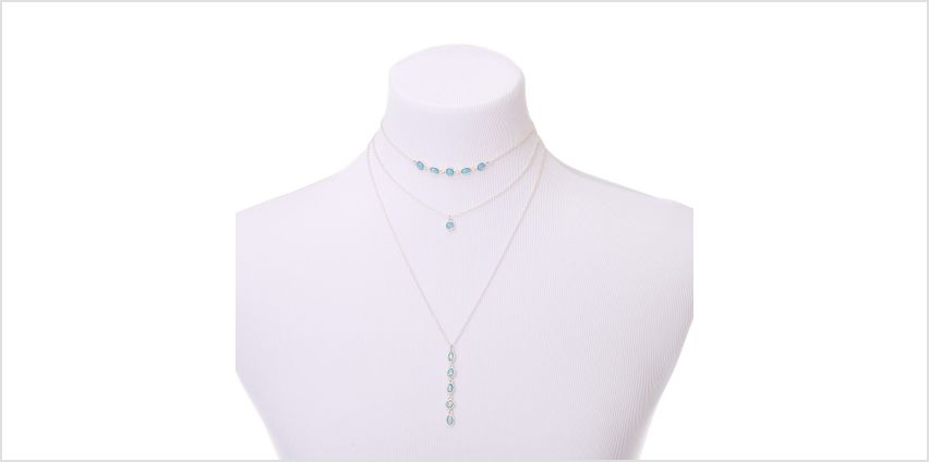 Go to Product: Silver Shimmer Stone Multi Strand Choker Necklace - Aqua from Claires