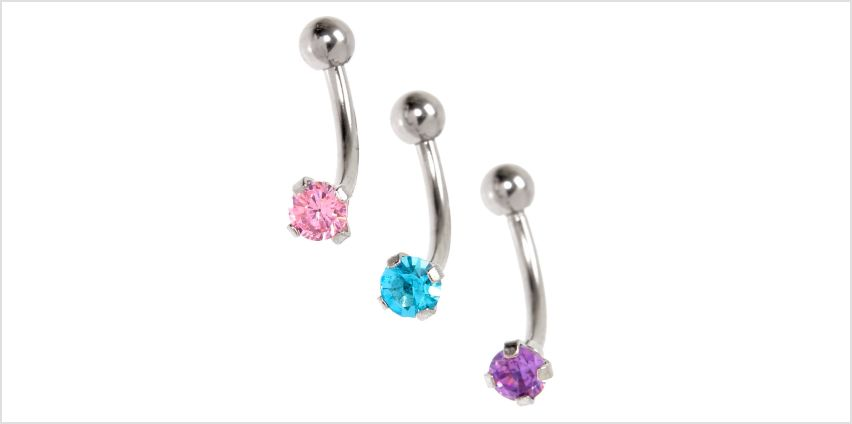 Go to Product: Silver Cubic Zirconia 16G Pastel Crystal Rook Earrings - 3 Pack from Claires