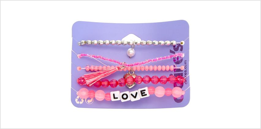 Go to Product: Love Beaded Stretch Bracelets - Pink, 5 Pack from Claires