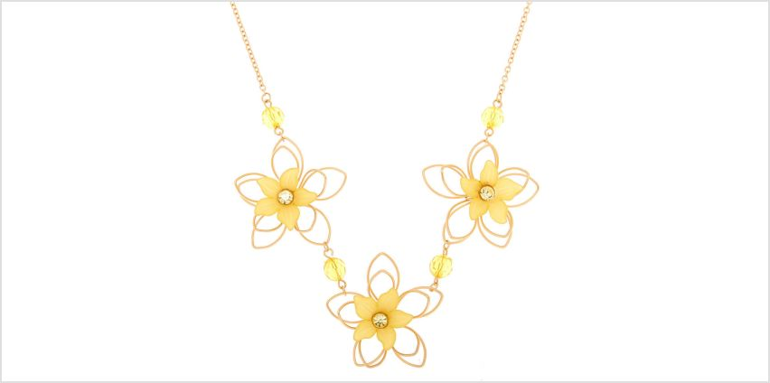 Go to Product: Gold Wire Floral Statement Necklace - Yellow from Claires