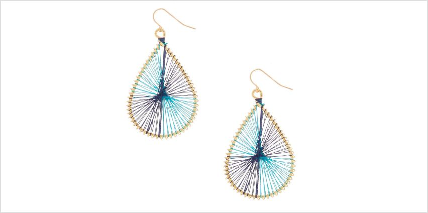 "Go to Product: Gold 2"" Teardrop Threaded Drop Earrings - Turquoise from Claires"