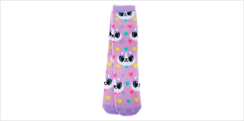 Go to Product: Carly the Cat Fuzzy Crew Socks - Purple from Claires